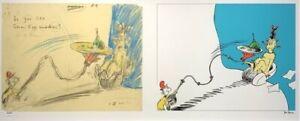 """Dr Seuss  THEODOR GEISEL """" Do you Like Green Eggs & Ham Diptych""""    MAKE OFFER"""
