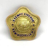 Antique Enamel Gold Filled Exempt Fierman Badge.  New Rochelle. N. Y.