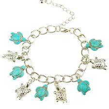 Women's Silver Plated Color Cute Turtle Turquoise Charm Chain Bracelet 1PCS