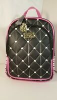 Luv BETSEY JOHNSON Backpack  Black Fushia Pink Quilted hearts Print travel bag