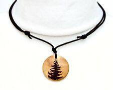 Fir Tree Necklace Evergreen Wooden Pendant Tree Jewellery Hippy Jewellery Pagan