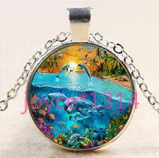 Vintage Dolphin Cabochon Tibetan silver Glass Chain Pendant Necklace #5948