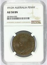 1912-H Australia 1 One Penny Coin - NGC AU 58 BN Graded - KM# 23