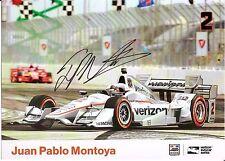 2016 JUAN PABLO MONTOYA signed INDIANAPOLIS 500 PHOTO CARD INDY CAR VERIZON