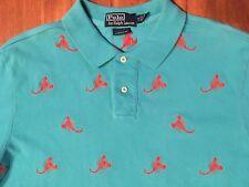 Polo Ralph Lauren Mens XL Light Blue Embroidered Lobster Allover Polo Shirt