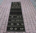 Anatolian Vintage Black Kilim Runner Rug Cappadocia Handmade Ethnic Carpet 3x7ft