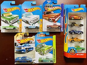 Hot Wheels-Chevy Trucks-Lot Of 5-& HW Flames 5 Pack