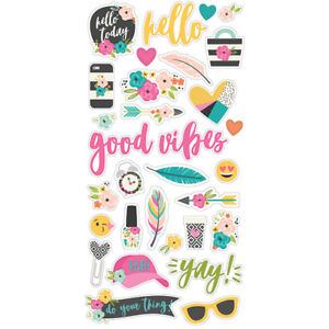 Simple Stories Good Vibes Collection 6x12 chipboard stickers #10089