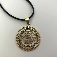Sri Yantra Sacred Geometry Brass Pendant Necklace on Leather Cord