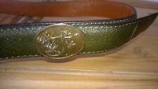VINTAGE Cintura in Pelle Verde Club interchasse Paris Taglia 75/30 Corno Di Caccia Cervo