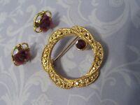 1928 Jewelry Co. Circle Pin w Purple Stone & Pierced Earrings Carved Flower