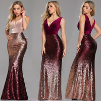 Ever-pretty Bodycon Pageant Gown Long Sequins V-neck Mermaid Party Dresses 07767