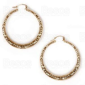 65mm HAMMERED double-sided HOOPS GOLD TONE bamboo tribal textured HOOP EARRINGS