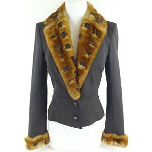 John Galliano Vintage Black Fur Trim Blazer Jacket Size US 4 - FR 38 Orylag