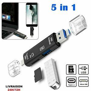 Lecteur de carte mémoire OTG 5 en 1 type C/USB 3.1/micro USB SD TF Cle usb