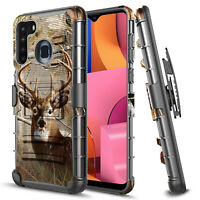 For Samsung Galaxy A21 Phone Case, Armor Belt Clip Holster Cover With Kickstand