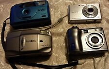 LOT OF FOUR OLD CAMERAS SOLD AS IS FILM & DIGITAL OLYMPUS MINOLTA SONY CONCORD