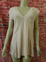 Meadow Rue Anthropologie Sz M Beige linen Coral Top Shirt Blouse Tunic Stretch