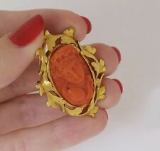 Antique Hand Carved Coral 18K Yellow Gold Cameo Brooch