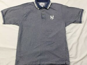 Starter New York Yankees Baseball Short Sleeve Polo Shirt Gray White Men Large