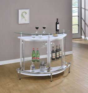 Modern Crescent Front Bar Table Glass Top Bottle Storage & Stemware Rack, White