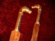 $ALE TWO JIM HALL KY DERBY OF BRASS HORSE HEAD  RUSTIC RIVED WALKING STICKS