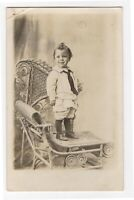 12520 VINTAGE RPPC LITTLE BOY ON CHAIR REAL PHOTO POSTCARD 1914 TOM AMARINE