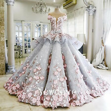 Luxury Wedding Gowns Bridal Dresses Pink Flowers Beaded Ball Gowns Custom 2-26W