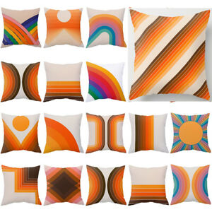 Retro Rainbow Tunnel Cushion Cover White Orange Pillow Case Home Decor Sofa 18''