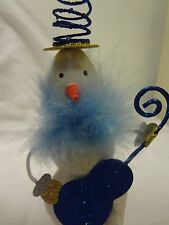 Sparkly SNOWMAN Skiing*Playing Guitar*Springy Hat*Holiday ORNAMENT*Free Shipping