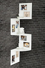 Deco Corner Shelf 24x98, 5x24cm White Wooden Picture Frame 8 Photos Rack