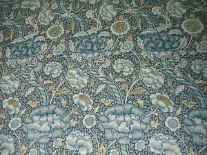 "WILLIAM MORRIS ""WANDLE"" 2 metres linen curtain fabric BLUE/STONE 226396"