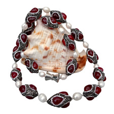 """Cultured White Rice Pearl Red Agate Black Rhinestone Pave Necklace 32"""""""