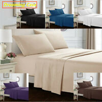 KING SIZE SHEETS 1800 Count 4 Piece Bed Sheet Set Deep Pocket Queen Size H2