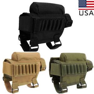 Tactical Rifle Buttstock Cheek Rest Gun Ammo Cartridges Carrier Pouch Holder