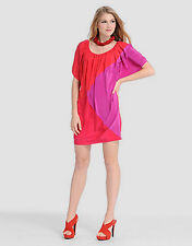 Phoebe Couture Bright Color Dress Pinks Peek A Boo Sleeves Size 10 NWT