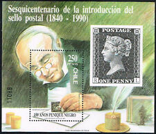 CHILE 1990 STAMP SS # B 50 MNH BLACK PENNY ROWLAND HILL STAMP ON STAMP