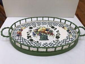Villeroy & Boch Fruit Basket Pattern Jadeite Green Metal Mosaic Tray