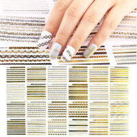 24 Sheets Lace Nail Art Transfer Stickers 3D Manicure Tips DIY Decal Decorations