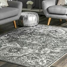 nuLoom Transitional Medallion Maryanne Area Rug in Gray