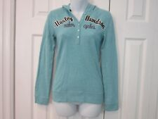 Harley Davidson Henley Thermal Hooded Long Sleeve Blue Embroidered Shirt XS