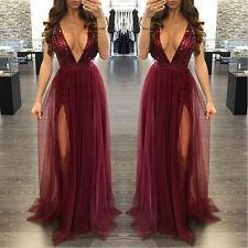 New burgundy deep V-neck chiffon maxi dress summer wear party wear Size UK 10