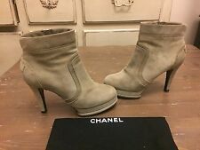 CHANEL  khaki  green suede  Ankle Boots Sz 38.5