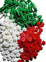 ☀️ 100x New Lego Flowers Red and White  plants stems spruces  mix bulk lot