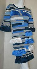 authentic Herve Leger white gray blue stacked fringe Karoline dress new sz M