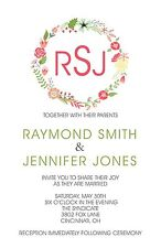 Wedding Invitations Flower Wreath Personalized - 50 Invitations & RSVP Cards