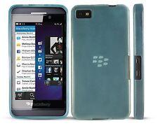 Híbrido delgado caucho gel piel funda para BlackBerry Z10-Azul