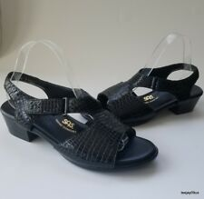 ~MINT Cond!~ SAS Suntimer Black Patent Leather Ankle Strap Sandals 9 WW Wide