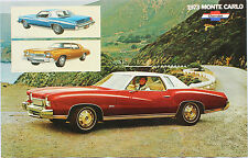 "1973 Monte Carlo Sales Brochure Poster 73 Chevrolet Chevy 11""x17"""