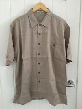 100% Pure Silk Men's Beige Brown Shirt Thin Grid Size Asian XL / UK L Brand New